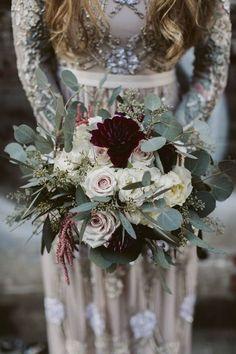 greenery and marsala moody wedding bouquet #weddingflowers #weddingbouquets #weddingideas