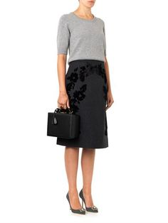 Shown here with Dolce & Gabbana Flocked wool-blend A-line skirt, Dolce & Gabbana Short-sleeved cashmere sweater, Chloé Abby ring and Mark Cross Grace large leather box bag.