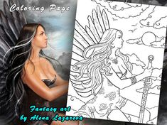 Coloring Page, fantasy angel