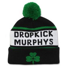 Dropkick Murphys Hat Shirts Clothing - Official Dropkick Murphys Pom Pom Beanie - http://www.band-tees.com/store/D_76414_024!KNGSR/Dropkick+Murphys+Woven+Shamrock+Beanie