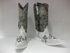 MEN'S WHITE FANCY ROCK STAR DANCE EXOTIC LEATHER COWBOY BOOTS WESTERN RODEO Mens Designer Boots, Rodeo, Cowboy Boots, Westerns, Pattern Design, Exotic, Fancy, Stars, Nice