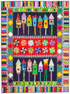 Birdhouse quilt by Talking Lunchbox Quilts House Quilt Patterns, House Quilt Block, House Quilts, Boy Quilts, Scrappy Quilts, Quilt Blocks, Jellyroll Quilts, Colorful Quilts, Small Quilts