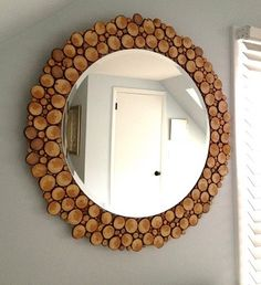 DIY mirror with wood slices – doing this to my plain oval mirror in downstairs BR. DIY mirror with wood slices – doing this to my plain oval mirror in… Spiegel Design, Designer Spiegel, Wood Slice Crafts, Handmade Mirrors, Diy Casa, Circular Mirror, Diy Mirror, Mirror Ideas, Wood Mirror