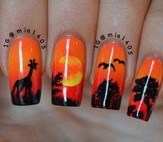 Image uploaded by Find images and videos about nails, sunset and opens on We Heart It - the app to get lost in what you love. Orange Nail Designs, Cute Nail Designs, Lion King Nails, Cute Nails, Pretty Nails, Safari Nails, Animal Nail Art, Nagellack Design, Vacation Nails