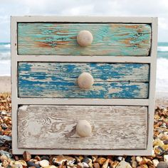 Turquoise Blue Three Drawer Cabinet | Driftwood Furniture | Wooden Cabinet - buy the sea