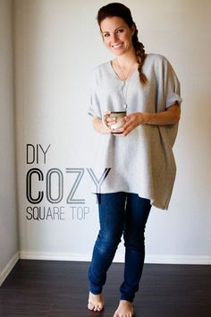 The best DIY projects & DIY ideas and tutorials: sewing, paper craft, DIY. DIY Clothing & Tutorials Stay cozy through the rest of the winter with this super easy DIY square top! You only need one cut and two seams- you'll be done in minutes! Diy Clothes Tops, Diy Clothing, Clothing Patterns, Sewing Patterns, Comfy Clothes, Sewing Clothes Women, Shirt Patterns For Women, Rave Clothing, Clothes Refashion