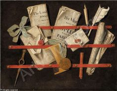 A trompe l'oeil of a letter rack sold by Sotheby's, London, on Monday, December 16, 2002