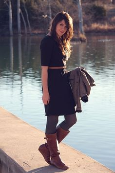 dress + tights + boots by misty