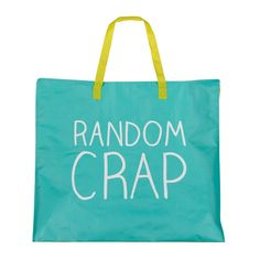 """Looking for a spot to store your """"random crap""""? This is it! Tote bag with woven handles and zip closure is the perfect carry-all for anything you just don't have a place for. $9.95.  Use code CELEBRATE25 for 25% off."""