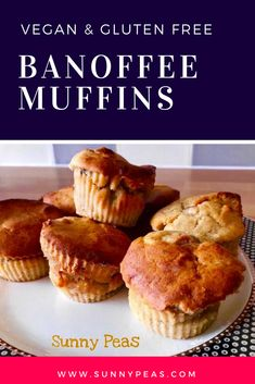 Soft and sweet gooey banoffee muffins full of goodness - you can even eat them for breakfast! (vegan, gluten free)