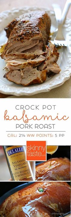 Crock Pot Balsamic Pork Roast – easy, lean and delicious! 5 weight watchers points <-- This was delicious! Ww Recipes, Pork Recipes, Slow Cooker Recipes, Cooking Recipes, Crockpot Meals, Skinnytaste Recipes, Italian Recipes, Salad Recipes, Carne Asada