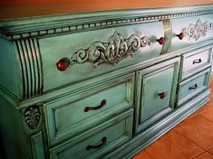 Refurbish old ugly 80's furniture--turquoise with Black Glaze