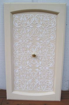 Raised Plaster Stenciling On Cabinet Door By Victoria Ln Stencils Via Flickr