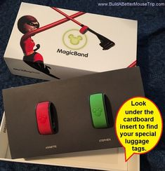 Did you book a Disney World vacation package? Be sure to check under your Magic Bands to find your Disney World Souvenir name tags.   For more information, see; http://www.buildabettermousetrip.com/visiting-disney-world/2015/10/30/where-disney-hid-your-souvenir-luggage-tags
