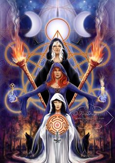 """Magick Wicca Witch Witchcraft: """"#Hecate ~ Triple Goddess,"""" by Kim Dreyer. Más"""