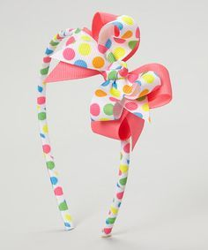 Another great find on #zulily! White & Pink Bubble Dot Bow Headband #zulilyfinds