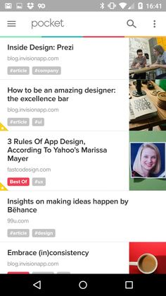 #pocket #news #stream #UI #tags / Favorite highlighted / Right pics / Tags