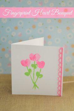Father's Day Craft for kids: a lovely fingerprint heart bouquet