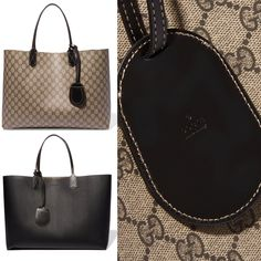 """It's """"Add To Basket"""" Friday and I have found the perfect tote to put in mine. The Gucci """"Turnaround"""" medium reversible leather tote is the practical yet chic carryall, especially for travel. One side of the bag is the """"GG"""" printed beige and dark brown leather and the other side is smooth black calf leather. And oh yeah, it comes with a detachable luggage tag. So chic!"""