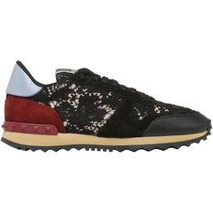 Valentino Women Rockstud Lace & Suede Sneakers ($710) ❤ liked on Polyvore featuring shoes, sneakers, black, kohl shoes, black lace shoes, valentino trainers, suede sneakers and valentino sneakers