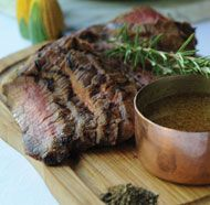 """""""Grilled Flank Steak with Mom's Sauce""""  Note: Cut the sauce recipe in 1/2 and still had plenty"""