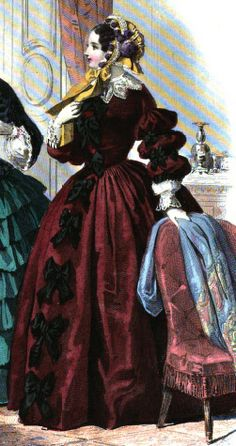 1854.  Le Moniteur de la mode.  Bows down the front and multi-puffed sleeves.