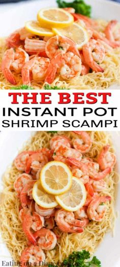 Instant pot shrimp scampi recipe comes together in only 2 minutes thanks to the pressure cooker! Enjoy delicious shrimp scampi in hardly any time at all! Shrimp And Squash Recipe, Lemon Shrimp Scampi Recipe, Shrimp Scampi Pasta, Chicken Broth Recipes, Shrimp Recipes Easy, Entree Recipes, Seafood Recipes, Crockpot Recipes, Potted Shrimp