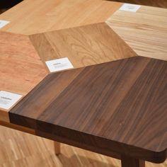 Incredible table made of five types of wood - cherry, beach, oak, ash, walnut. More on www.woodandpaper.pl #woodandpaper #marquentry #solidwood #oak #ash #cherry #walnut #beach