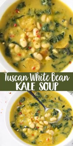 The best Tuscan White Bean Kale Soup recipe with winter squash, leeks, lacinato kale and creamy cannellini beans. Super easy to make, without meat, vegan and gluten free! Vegetarian Soup, Vegan Soups, Vegetarian Recipes, Cooking Recipes, Healthy Recipes, Lactose Free Soup Recipes, Gluten Free Soups, White Bean Chili Vegetarian, Vegan Bean Soup