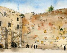 Israel Painting of Western Wall  JUDAICA art  by SchulmanArts, $24.00