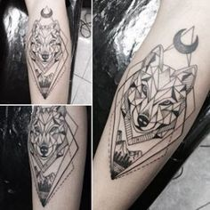 Geometric Wolf with Moon Forearm Tattoo