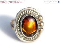 On Sale Today Vintage Southwestern Hand Made 925 Sterling Silver & Fire Agate Ring size 7 1/2 On sale now $76.00