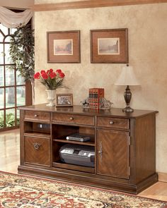 Ashley Hamlyn H527-46 Signature Design Large Credenza - Large Credenza Made with select hardwoods and cherry veneer with Prima Vera inlay veneer With rich traditional style infused with a European flair
