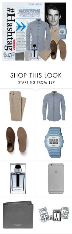 """""""Man in Serenity & Caramel: 08/04/16"""" by pinky-chocolatte ❤ liked on Polyvore featuring Lands' End, Dolce&Gabbana, Lacoste, G-Shock, Christian Dior, Native Union, Michael Kors, Dot & Bo, men's fashion and menswear"""