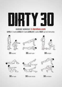 Dirty 30 Darebee Workout Visit for information on Crossfit and cool training for beginners and profe Home Workout Men, Gym Workout Tips, At Home Workouts, Hiit Workouts For Men, Cross Fit Workouts, Easy Daily Workouts, 300 Workout, Workout Plans, Beginner Workout For Men