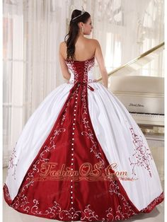 Formal White And Wine Red Quinceanera Dress Strapless Satin Embroidery Ball Gown- $215.69