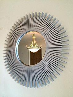 """Sunburst Wall Mirror Round Silver Wood Frame 23"""""""