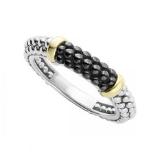 Black ceramic stacking ring with 18k gold and sterling silver Caviar beading. Ideal to pair with other stacking rings.