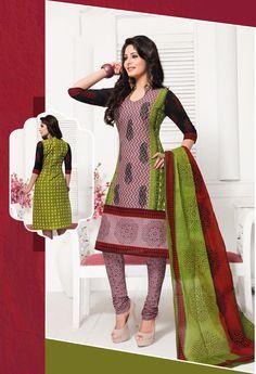 Pink Cotton Churidar Suit 59379