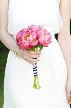 bridesmaids bouquets - wrapped with black and white striped ribbon