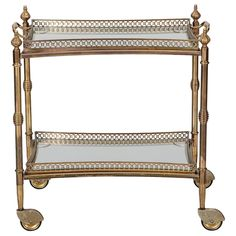 Two Tier Brass and Glass Serving Trolley with Removable Tray | From a unique collection of antique and modern bar carts at https://www.1stdibs.com/furniture/tables/bar-carts/