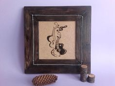 Wood Burning Art, Wood Painting, Guitars, Bass String, Handmade Art, Pyrography Art, Framed Painting