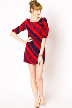 red and navy striped dress
