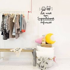 All kids are superheroes, but they wear tracksuits or uniforms. This wall sticker is a friendly reminder. All Kids, Ikea, Little Boys, Interior Inspiration, Wall Stickers, Wardrobe Rack, Kids Room, Diy, Interiors