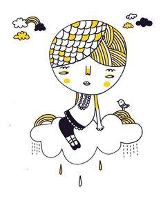clouds #illustration #doodle #print #pinkrain