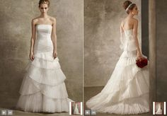 Vera Wang White - Satin Faced Organza Fit and Flare Gown