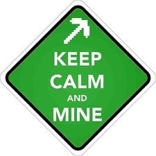 Minecraft: Keep Calm and Mine Pick Axe Vinyl Sticker (bumper, phone, xbox, ps4)