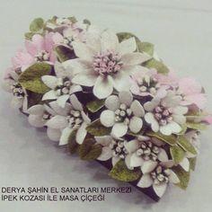 DERYA ŞAHİN EL SANATLARI MERKEZİ   İpek Kozası masa çiçeği ve peçetelik ...