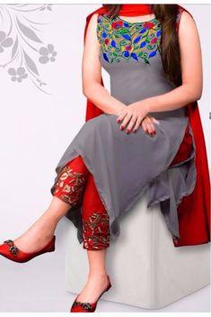 #kurti # georgette # salwar-kameez Gray Georgette Salwar Kameez 1103 1300 taka call 01798078368 #PunjabiLadiesSuits