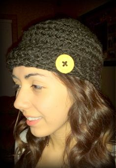 Crocheted hat inspired by Pinterest ;) #crochet #buttons